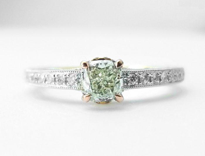 57 2 2 700x533 - 0.67ct Natural Fancy Light Green Diamond Engagement Ring GIA 18K Gold VS2
