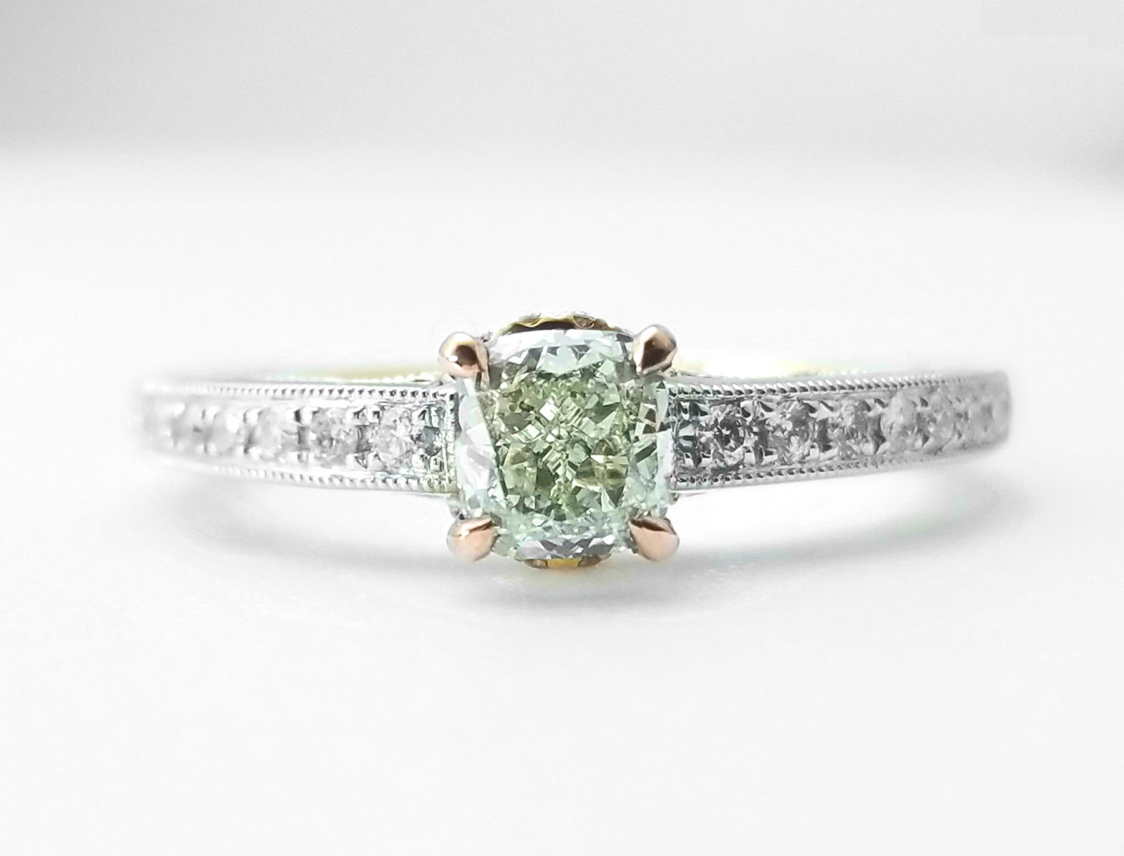 shape diamond light green fancy carat yellowish gia clarity diamonds cushion