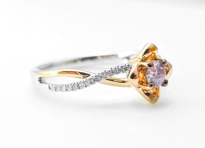57 7 2 700x508 - 0.52ct Natural Fancy Pink Diamonds ARGYLE Engagement Ring GIA Round 18K Gold