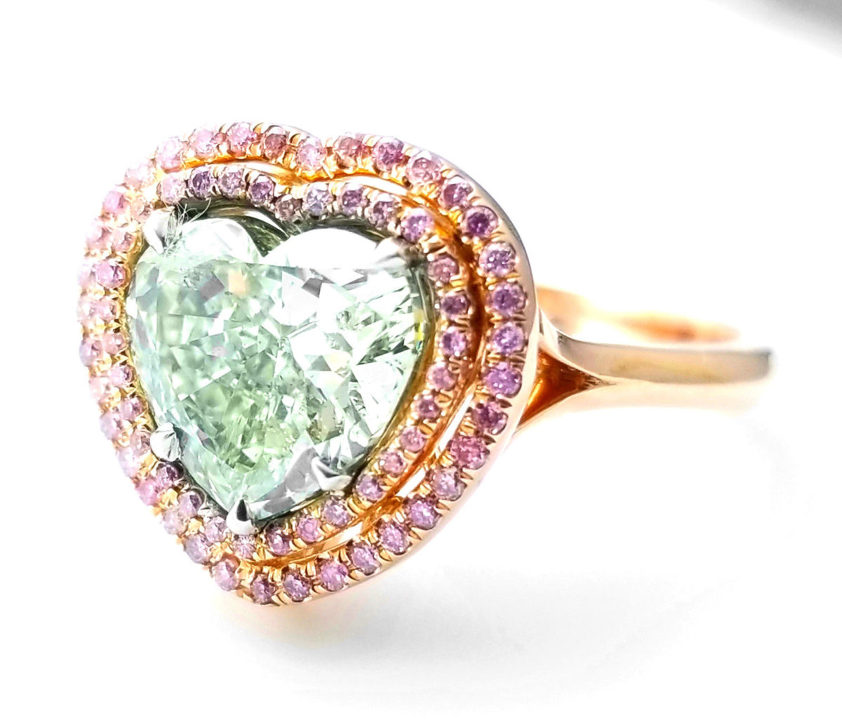 3.03ct Natural Fancy Green And Intense Pink Diamonds Engagement Ring GIA 2 iN 1