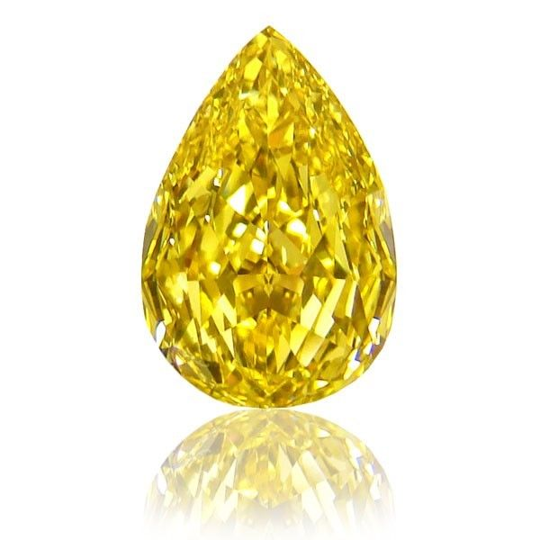 57 9 - IF 0.61ct Natural Loose Fancy Intense Yellow Diamond GIA Pear Shape Flawless