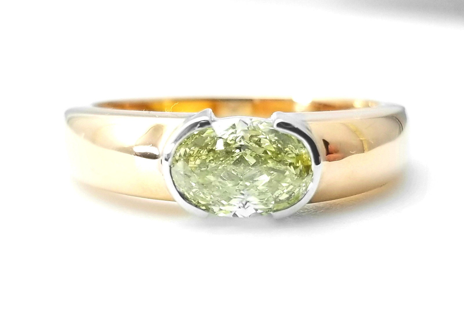 1.33ct Natural Fancy Light Yellow Diamond Unisex Mens Ring GIA 18K Gold Flawless