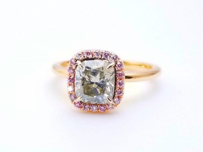 57 1 2 700x525 - 1.68ct Fancy Gray & Intense Pink Diamond Engagement Ring GIA 18K Rose Gold SI1