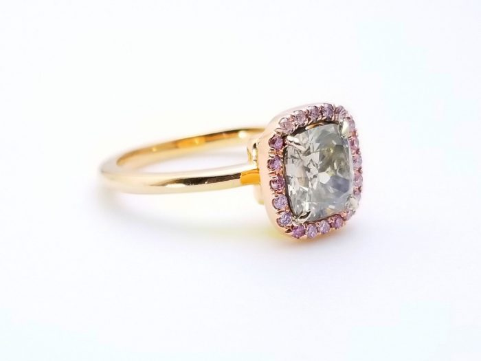57 1 4 700x525 - 1.68ct Fancy Gray & Intense Pink Diamond Engagement Ring GIA 18K Rose Gold SI1