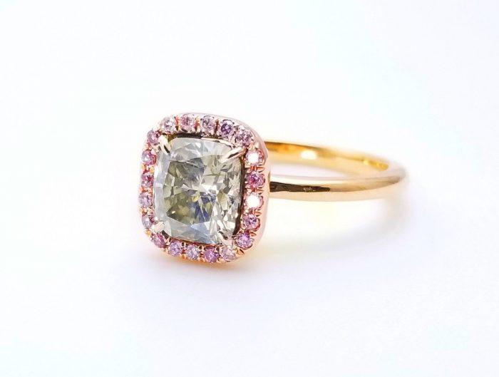 57 1 5 700x529 - 1.68ct Fancy Gray & Intense Pink Diamond Engagement Ring GIA 18K Rose Gold SI1