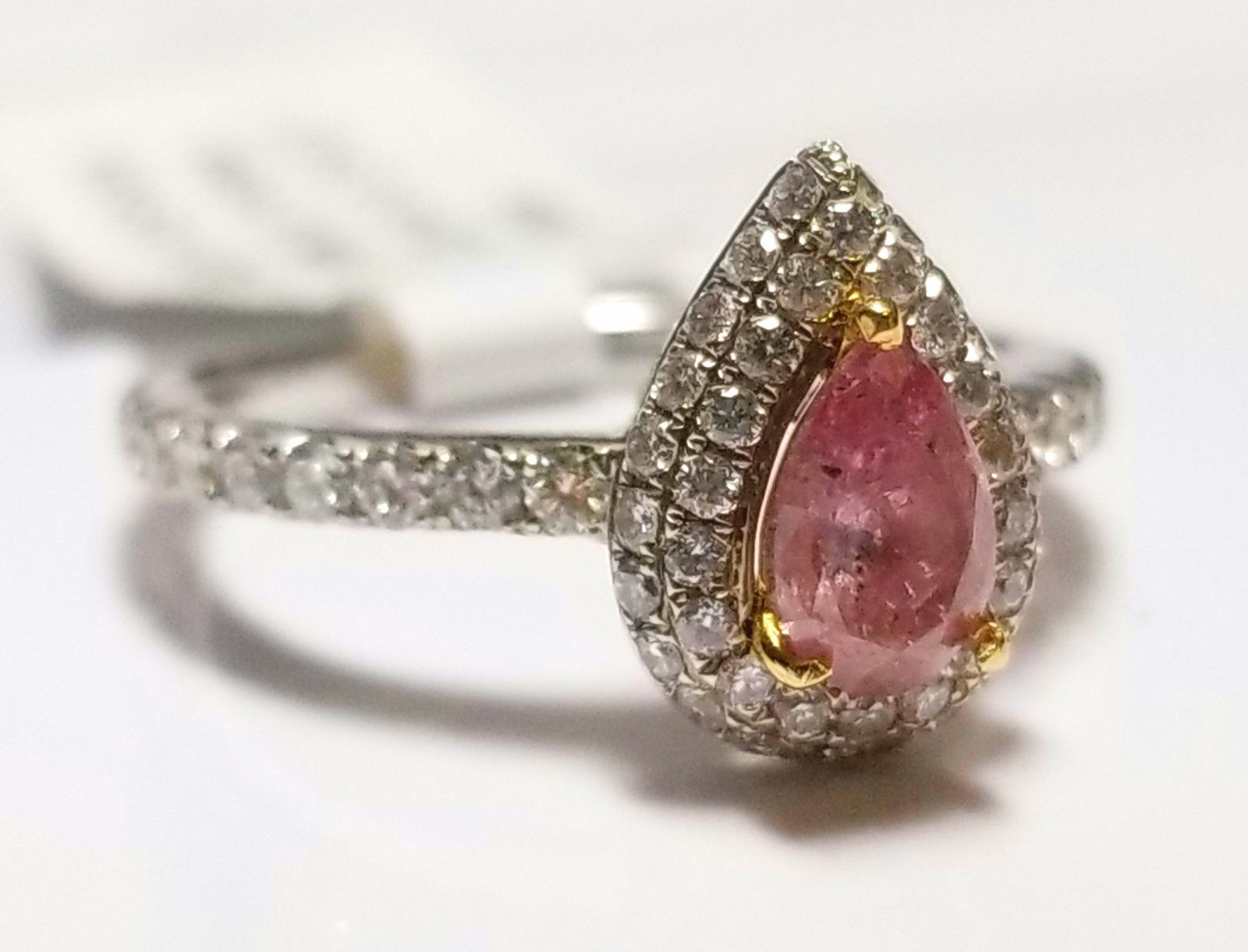 Engagement Ring 0.85ct Natural Fancy Intense Purple Pink GIA 18K Solid Gold