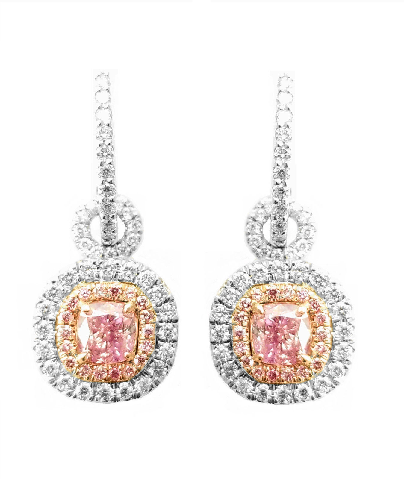 2.15ct Fancy Purple Pink Diamonds Earrings 18K White Gold 3 In 1 Pendant GIA SI1