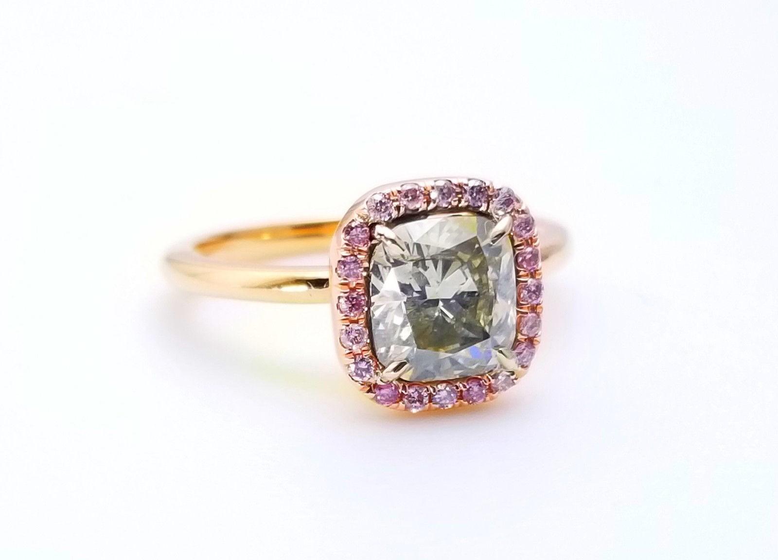 1.68ct Fancy Gray & Intense Pink Diamond Engagement Ring GIA 18K Rose Gold SI1