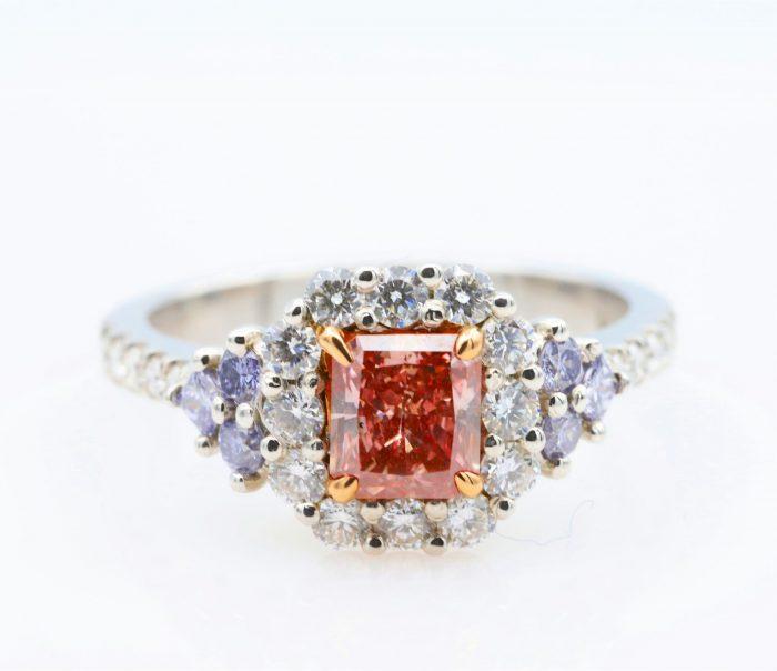 Rad pink blue ring1 1 700x604 - Platinum Engagement Ring 1.30ct Natural Fancy Intense Pink And ARGYLE Blue GIA