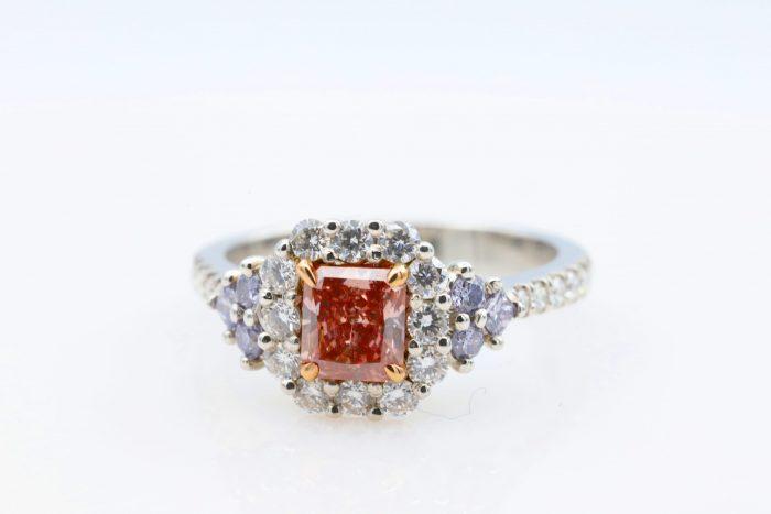 Rad pink blue ring2 700x467 - Platinum Engagement Ring 1.30ct Natural Fancy Intense Pink And ARGYLE Blue GIA