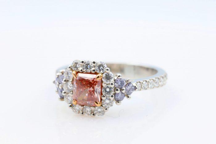 Rad pink blue ring3 700x467 - Platinum Engagement Ring 1.30ct Natural Fancy Intense Pink And ARGYLE Blue GIA