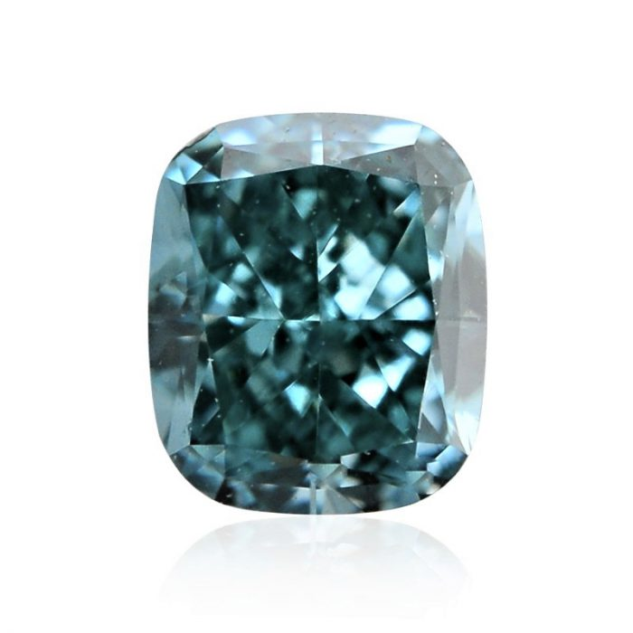 11 700x700 - 0.65ct Natural Loose Fancy Vivid Green Blue SI2 Cushion GIA Certified