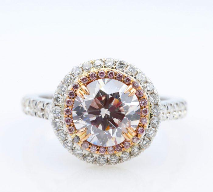 1.89 vlp rb ring1 700x631 - 2.77ct Natural Fancy Light Pink Diamond Engagement Ring GIA 18K White Gold Round
