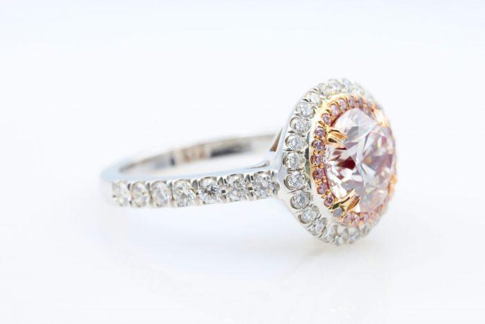 1.89 vlp rb ring32 700x467 - 2.77ct Natural Fancy Light Pink Diamond Engagement Ring GIA 18K White Gold Round