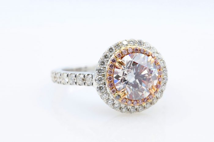 1.89 vlp rb ring35 700x467 - 2.77ct Natural Fancy Light Pink Diamond Engagement Ring GIA 18K White Gold Round