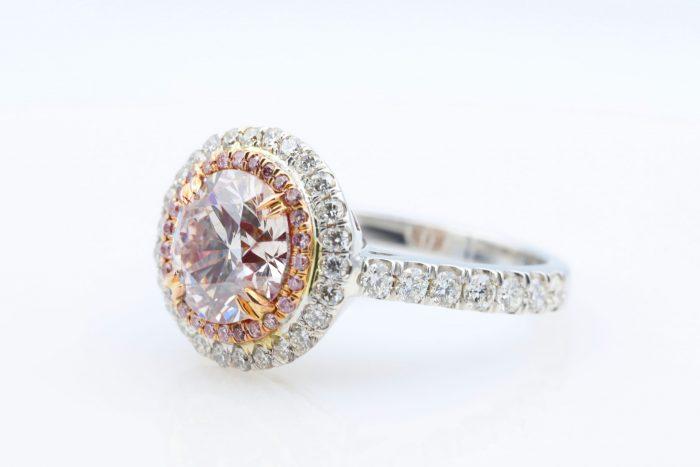 1.89 vlp rb ring5 700x467 - 2.77ct Natural Fancy Light Pink Diamond Engagement Ring GIA 18K White Gold Round