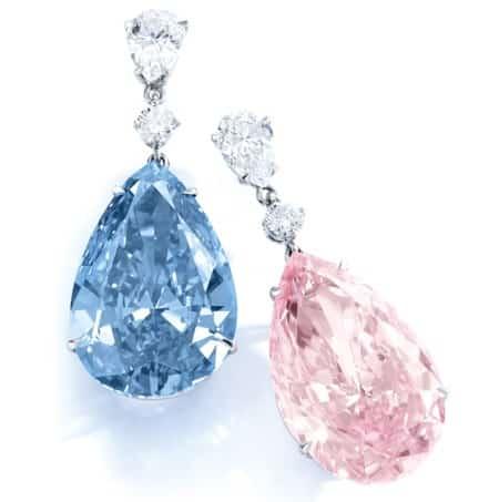 fancy pink and intense blue diamonds