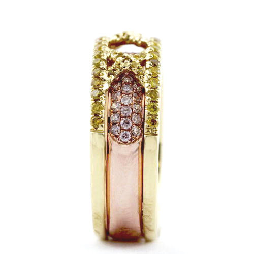 138ct Natural Fancy Pink Yellow Diamonds Engagement Ring 18K Solid Gold 9G 253670742490 2 - 1.38ct Natural Fancy Pink & Yellow Diamonds Engagement Ring 18K Solid Gold 9G
