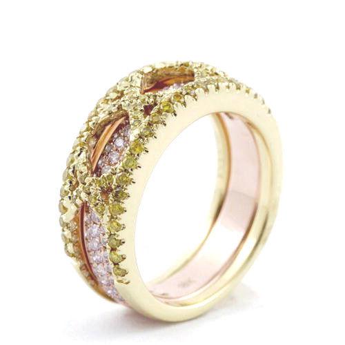 138ct Natural Fancy Pink Yellow Diamonds Engagement Ring 18K Solid Gold 9G 253670742490 3 - 1.38ct Natural Fancy Pink & Yellow Diamonds Engagement Ring 18K Solid Gold 9G