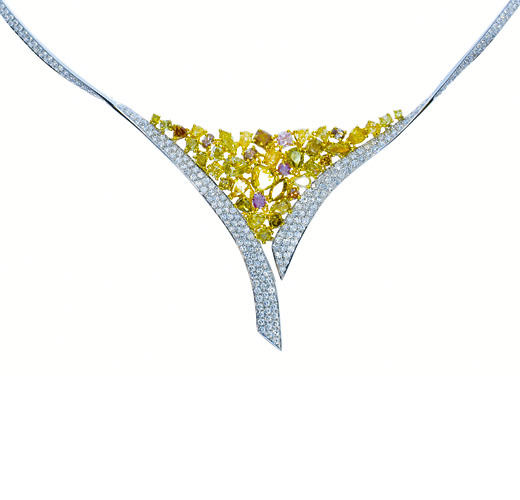 944ct Fancy Pink Yellow Diamonds Necklace 18K All Natural 26 Grams Real Gold 263781428850 - 9.44ct Fancy Pink & Yellow Diamonds Necklace 18K All Natural 26 Grams Real Gold