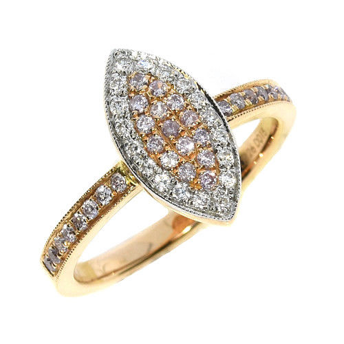 Real 040ct Natural Fancy Pink Diamonds Engagement Ring 18K Solid Gold 6G Band 253670742530 - Real 0.40ct Natural Fancy Pink Diamonds Engagement Ring 18K Solid Gold 6G Band