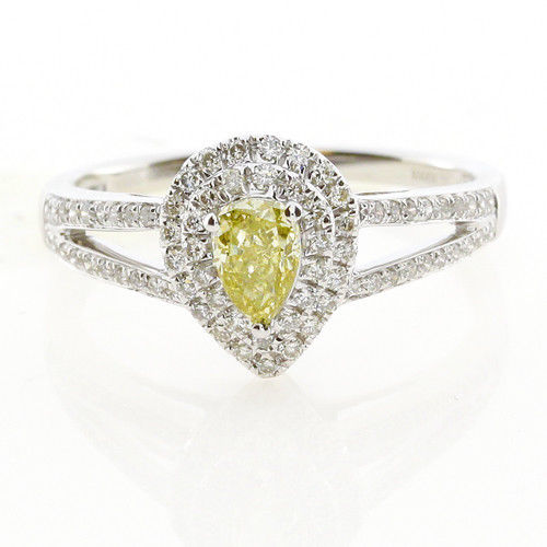 Real 073ct Natural Fancy Yellow Diamonds Engagement Ring 18K Solid Gold Pear 253693729970 - Real 0.73ct Natural Fancy Yellow Diamonds Engagement Ring 18K Solid Gold Pear