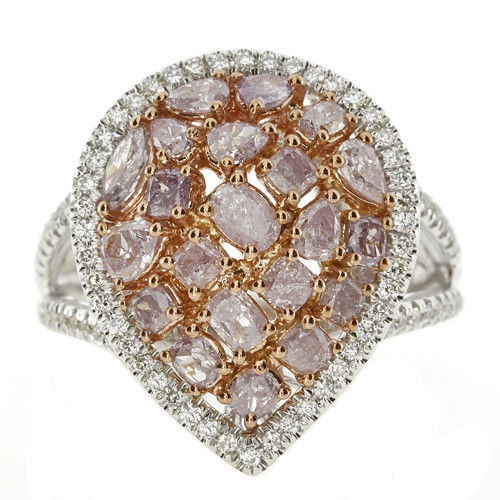 Real 3.05ct Natural Fancy Pink Diamonds Engagement Ring 18K Solid Gold 13G