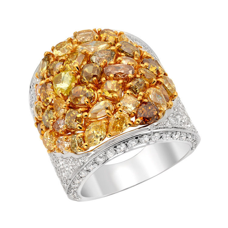 Real 8.41ct Natural Fancy Intense Yellow Diamonds Engagement Ring 18K Solid Gold