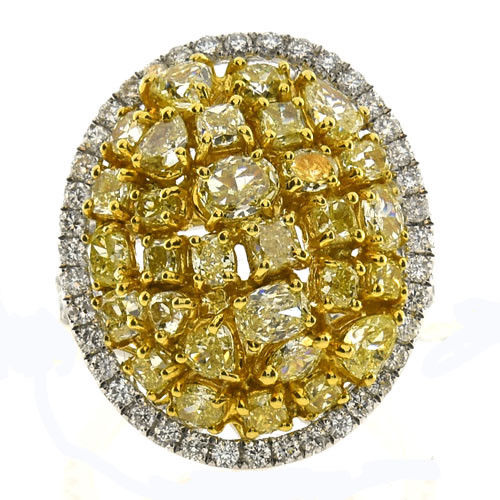 Real Fine 3.97ct Engagement Ring Natural Fancy Yellow 18K Solid Gold SI1-VS2