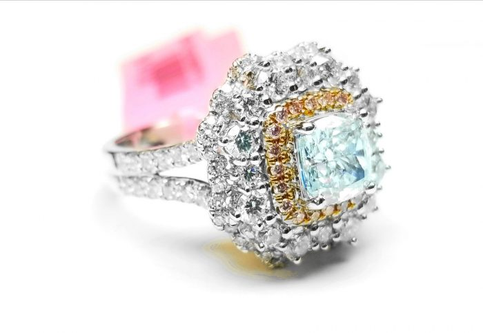 Real GIA 265ct Natural Faint Light Blue Pink Diamonds Engagement Ring 18K SI1 263762585630 2 700x483 - Real GIA 2.65ct Natural Faint Light Blue & Pink Diamonds Engagement Ring 18K SI1