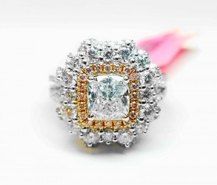 Real GIA 265ct Natural Faint Light Blue Pink Diamonds Engagement Ring 18K SI1 263762585630 3 700x597 - Real GIA 2.65ct Natural Faint Light Blue & Pink Diamonds Engagement Ring 18K SI1