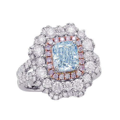 Real GIA 265ct Natural Faint Light Blue Pink Diamonds Engagement Ring 18K SI1 263762585630 - Real GIA 2.65ct Natural Faint Light Blue & Pink Diamonds Engagement Ring 18K SI1