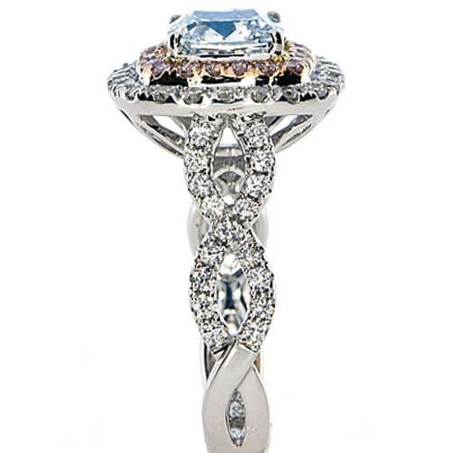 Real GIA 312ct Natural Fancy Light Blue Pink Diamonds Engagement Ring 18K 263917372200 2 - GIA 3.12ct Natural Fancy Light Blue Pink Diamonds Engagement Ring 18K