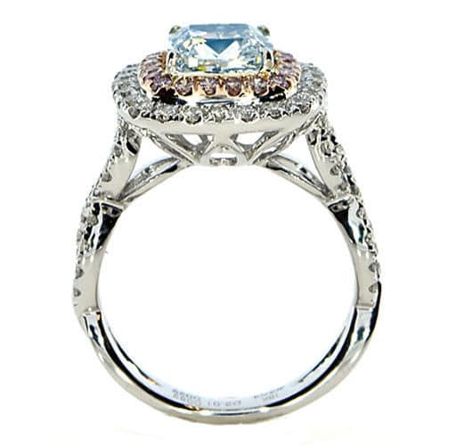 Real GIA 312ct Natural Fancy Light Blue Pink Diamonds Engagement Ring 18K 263917372200 3 - GIA 3.12ct Natural Fancy Light Blue Pink Diamonds Engagement Ring 18K