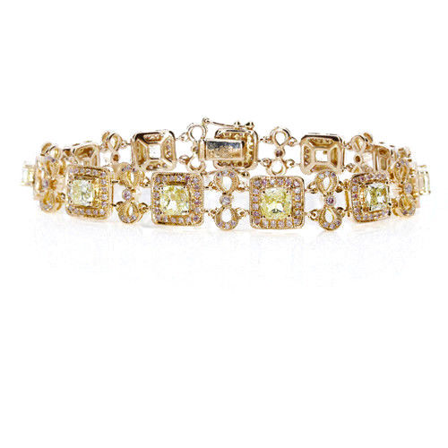 Yellow Diamonds - Bracelet 7.26ct Natural Fancy Yellow Diamonds 18K Gold Cushion