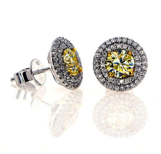 230ct Fancy Intense Yellow Diamonds Earrings 18K All Natural 44 Grams W Gold 253713569061 2 - 2.30ct Fancy Intense Yellow Diamonds Earrings 18K All Natural 4.4 Grams W Gold