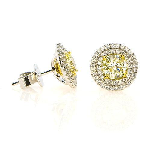 230ct Fancy Intense Yellow Diamonds Earrings 18K All Natural 44 Grams W Gold 253713569061 - 2.30ct Fancy Intense Yellow Diamonds Earrings 18K All Natural 4.4 Grams W Gold