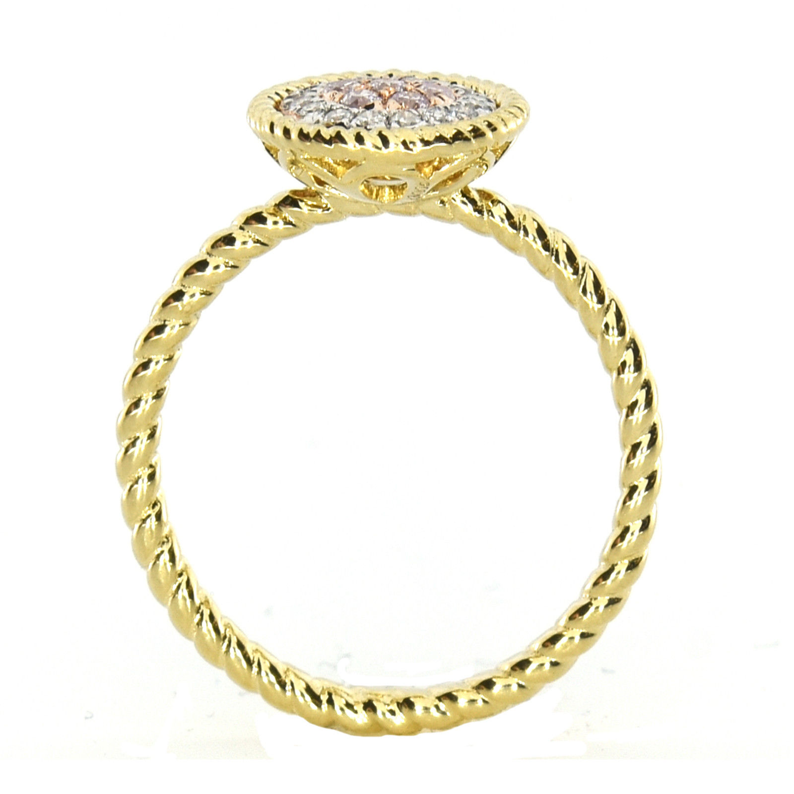 Real 0.24ct Natural Pink Purple Color Diamond Engagement Ring Round 18K VS-SI
