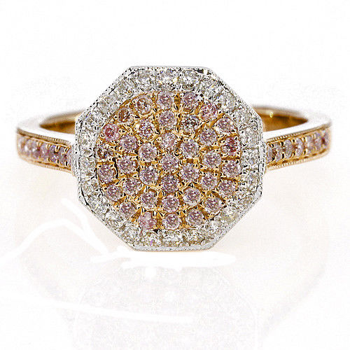 Real 088ct Natural Fancy Pink Diamonds Engagement Ring 18K Solid Gold 6G Band 253670742411 - Real 0.88ct Natural Fancy Pink Diamonds Engagement Ring 18K Solid Gold 6G Band
