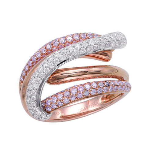 Real 127ct Natural Fancy Pink Diamonds Engagement Ring 18K Solid Gold 6G Band 253670742501 - Real 1.27ct Natural Fancy Pink Diamonds Engagement Ring 18K Solid Gold 6G Band
