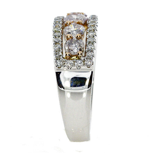 Real 134ct Natural Fancy Pink Diamonds Engagement Ring 18K Solid Gold 6G Band 263738747921 2 - Real 1.34ct Natural Fancy Pink Diamonds Engagement Ring 18K Solid Gold 6G Band