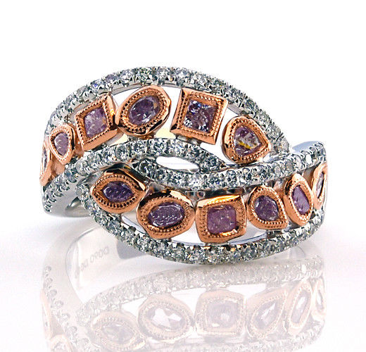 Real 140ct Natural Fancy Pink Diamonds Engagement Ring 18K Solid Gold 7G 253670742441 - Real 1.40ct Natural Fancy Pink Diamonds Engagement Ring 18K Solid Gold 7G