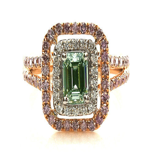 Real 170ct Natural Fancy Light Green Pink Diamonds Engagement Ring GIA 18K 263762585601 - Real 1.70ct Natural Fancy Light Green & Pink Diamonds Engagement Ring GIA 18K