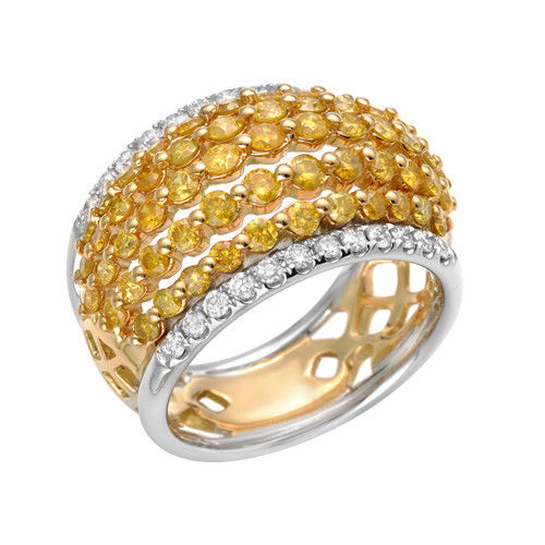 Real 2.04ct Natural Fancy Intense Yellow Diamonds Engagement Ring 18K Solid Gold