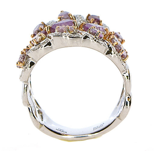 Real 3.01ct Natural Fancy Pink Diamonds Engagement Ring 18K Solid Gold 5G