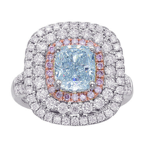 Real 318ct Natural Fancy Light Blue Pink Diamonds Engagement Ring GIA 18K SI1 263762585621 - Real 3.18ct Natural Fancy Light Blue & Pink Diamonds Engagement Ring GIA 18K SI1