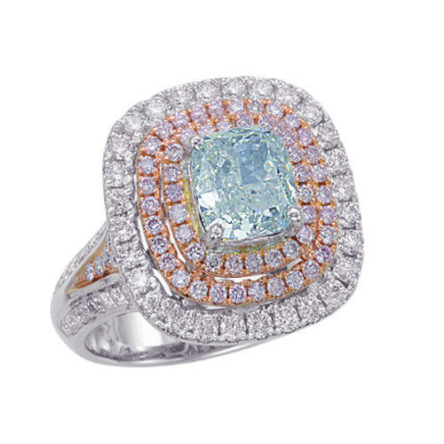 Real 345ct Natural Fancy Light Blue Pink Diamonds Engagement Ring GIA 18K SI2 263762585641 - Real 3.45ct Natural Fancy Light Blue & Pink Diamonds Engagement Ring GIA 18K SI2