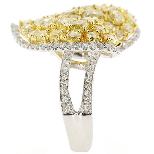 Real 461ct Natural Fancy Vivid Yellow Diamonds Engagement Ring 18K Solid Gold 263738746701 2 - Real 4.61ct Natural Fancy Vivid Yellow Diamonds Engagement Ring 18K Solid Gold