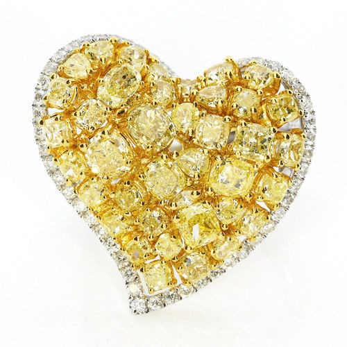 Real 461ct Natural Fancy Vivid Yellow Diamonds Engagement Ring 18K Solid Gold 263738746701 - Real 4.61ct Natural Fancy Vivid Yellow Diamonds Engagement Ring 18K Solid Gold