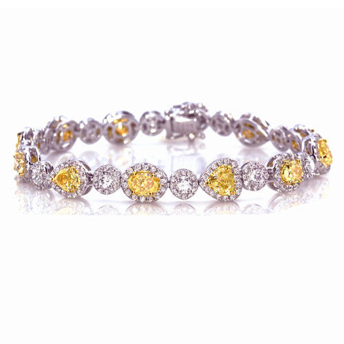 Yellow Diamonds Bracelet 944ct Natural Fancy Yellow Diamonds 18K Gold Real 263755567521 - Yellow Diamonds - Bracelet 9.44ct Natural Fancy Yellow Diamonds 18K Gold Real